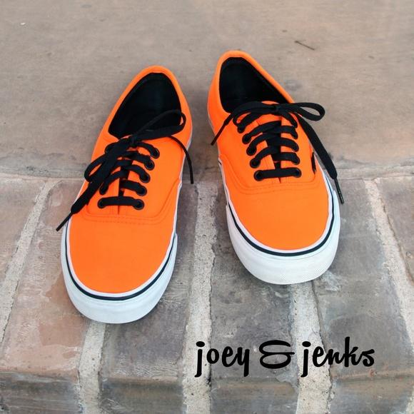 Vans Neon Orange Black Laces Mens 7